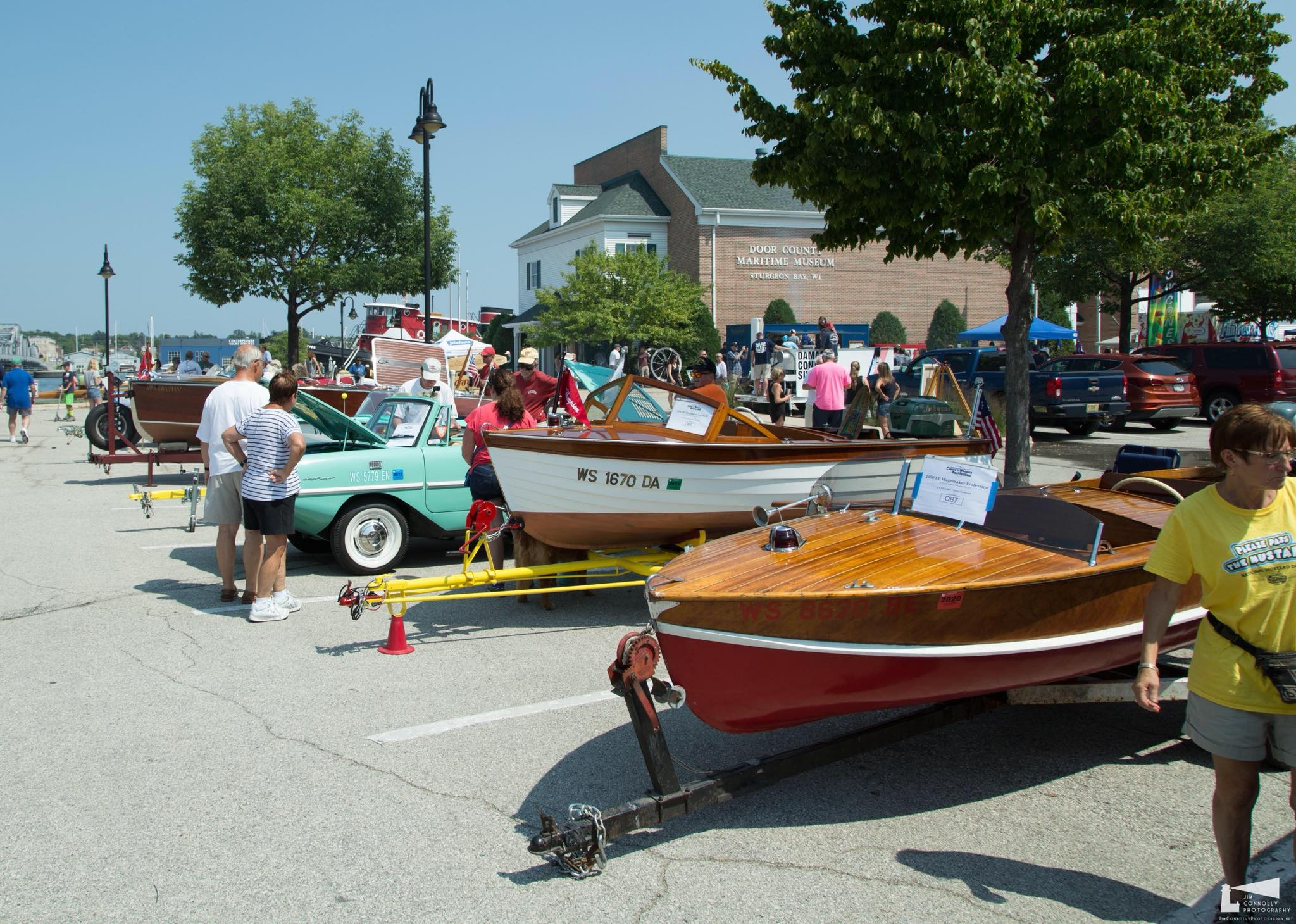 Wooden boats on trailers in parking of, amphicar